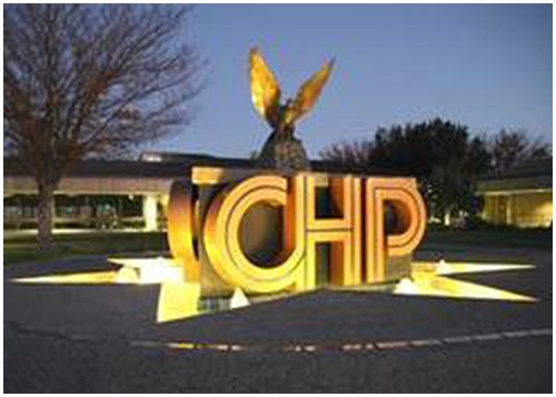 The California Highway Patrol (CHP) Memorial Fountain is located at the heart of the CHP Academy in Sacramento. The memorial resembles the CHP star-shaped badge with an eagle in the center.