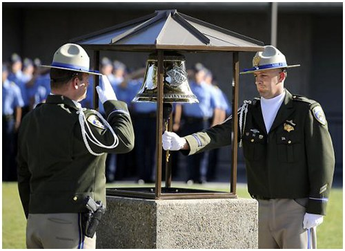 The California Highway Patrol (CHP) Memorial Fountain is located at the heart of the CHP Academy in Sacramento. On the day after a CHP officer is killed in the line of duty, a fellow officer rings a memorial bell.