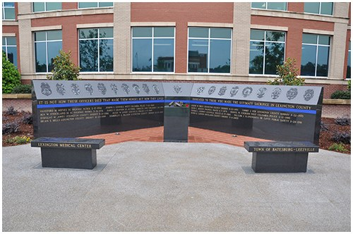 On May 17, 2012, in the Lexington Municipal Conference Center, community leaders, law enforcement officers, families, and friends honored those who lost their lives in the line of duty by dedicating the Lexington County Law Enforcement Memorial.