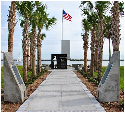 On October 13, 2012, the St. Petersburg, Florida, Police Department Memorial was dedicated during a public ceremony. This monument honoring fallen officers took several years to plan.