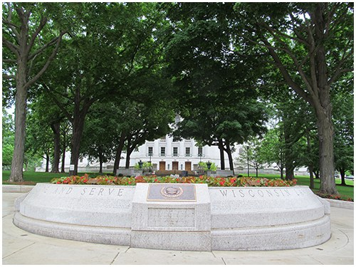 Dedicated in 1998, the Wisconsin Law Enforcement Officers' Memorial is located on the state capitol grounds in Madison.