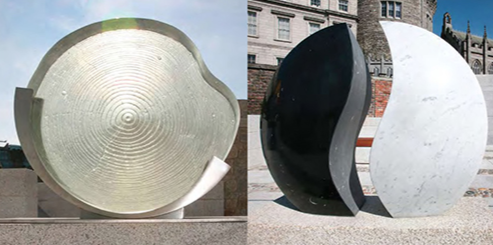 The Garda Memorial Garden in the Dubhlinn Gardens in Dublin, Ireland opened on May 15, 2010. The memorial honors An Garda Siochána members killed in the line of duty. A round glass sculpture commemorates the sacrifice of the families left behind.