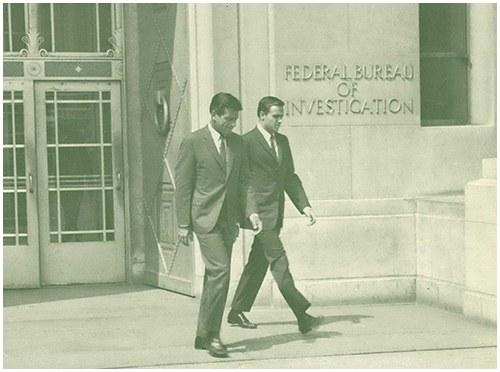 Mr. Efrem Zimbalist, Jr. and Mr. Stephen Brooks Leave FBI Headquarters, Washington, D.C.
