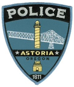The Astoria, Oregon, Police Department was instituted in 1879 and is one of the oldest law enforcement agencies in the western United States. The patch of its police department prominently depicts the Astoria Column, built in 1920 to commemorate the end of the railroad in the West. The column, which overlooks the city, is modeled after Trajan's column in Rome. In the background is a section of the Astoria-Megler Bridge.