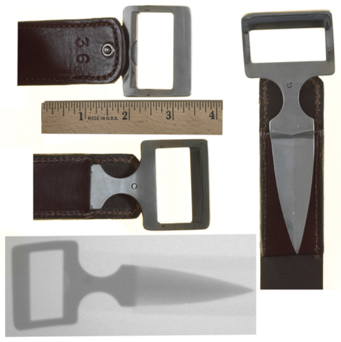 The photos depict a metal knife blade hidden inside a leather belt. Only the buckle handle of each item can be seen. These weapons pose a serious threat to the safety of law enforcement officers.