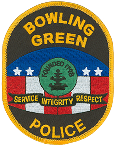 "The newly adopted patch of the Bowling Green, Kentucky, Police Department embodies community pride and the agency's values of service, integrity, and respect. The background symbolizes ""the nation's most patriotic water tank,"" located atop Reservoir Hill and visible from miles around the city. The center features Bowling Green's icon, the Hebe Fountain, named after the Greek goddess of youth and located in Fountain Square Park."