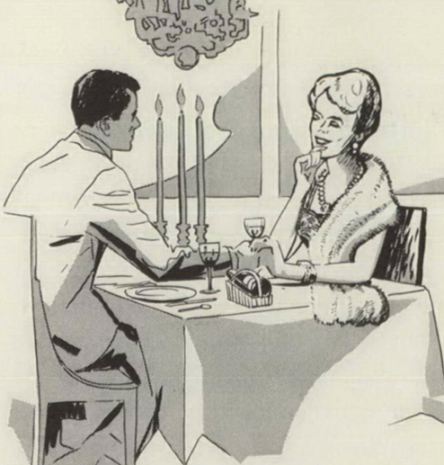 A depiction of a wealthy couple at dinner.