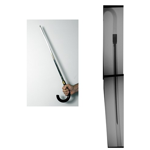 This unusual weapon looks like an ordinary cane. The handle unscrews to expose a knife blade. The cane's height is 36 inches. Law enforcement officers should be aware this cane sword poses a serious threat to them.