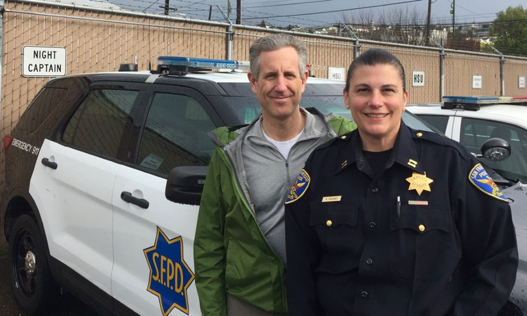A photo of Ed Kressy and Captain Renee Pagano.