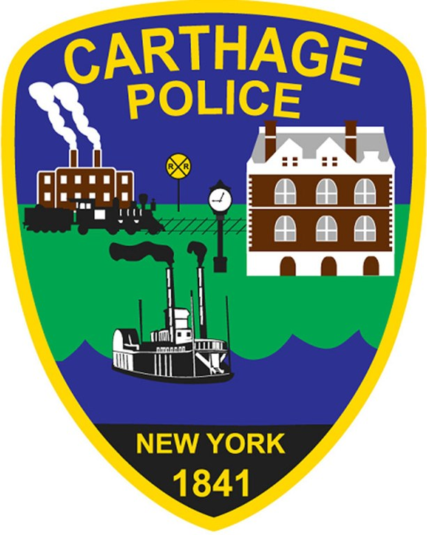 A digital image of the police patch of the Carthage, New York, Police Department.