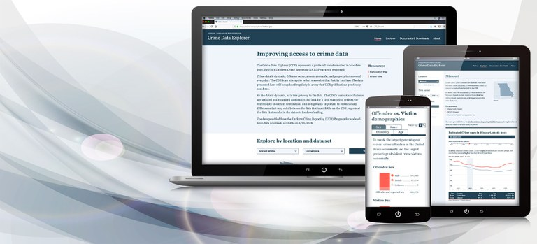 An image of three digital devices with the Crime Data Explorer website on the screen.
