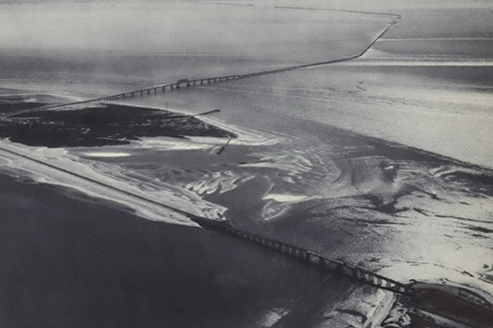 An aerial depiction of the Chesapeake Bay Bridge-Tunnel in 1969.