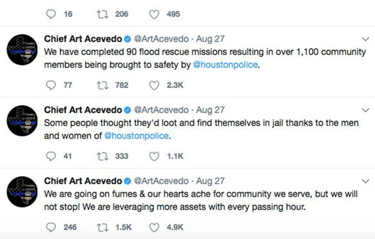 An image of the Twitter feed from Chief Art Acevedo of the Houston, Texas, Police Department's during Hurricane Harvey.