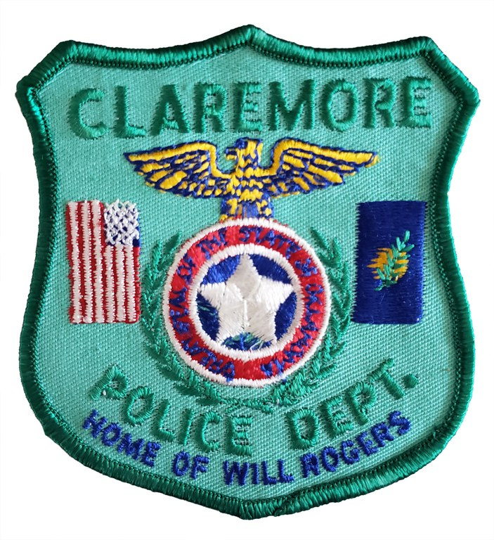 The shoulder patch of the Claremore, Oklahoma, Police Department.