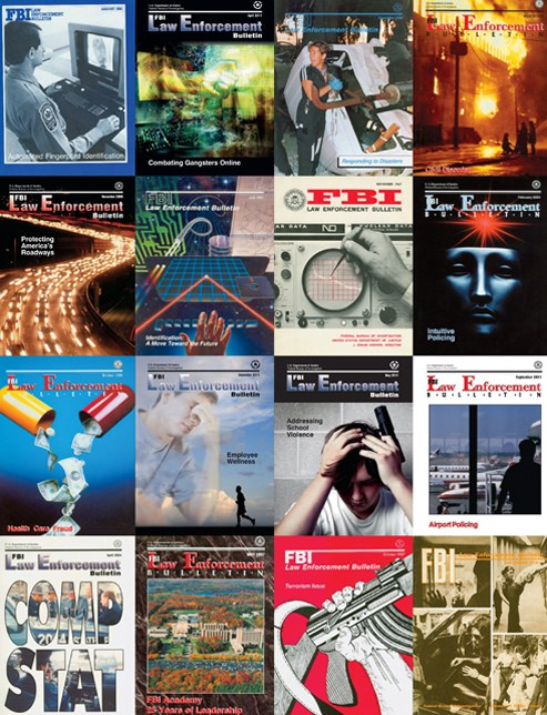 Various covers of the FBI Law Enforcement Bulletin over the years.