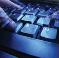 Stock image of phantom fingers typing a message.