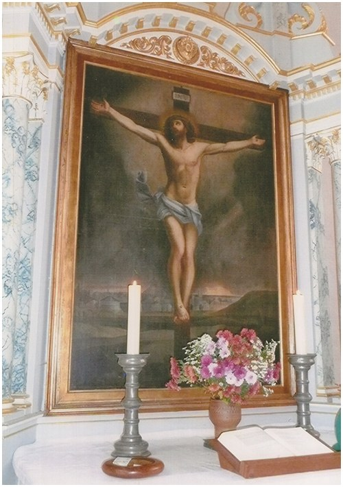 This painting of Christ on the cross is a copy by Andrea Guglielmi of an original completed in Rome by Guido Reni (1575-1642), likely in the early 19th century.