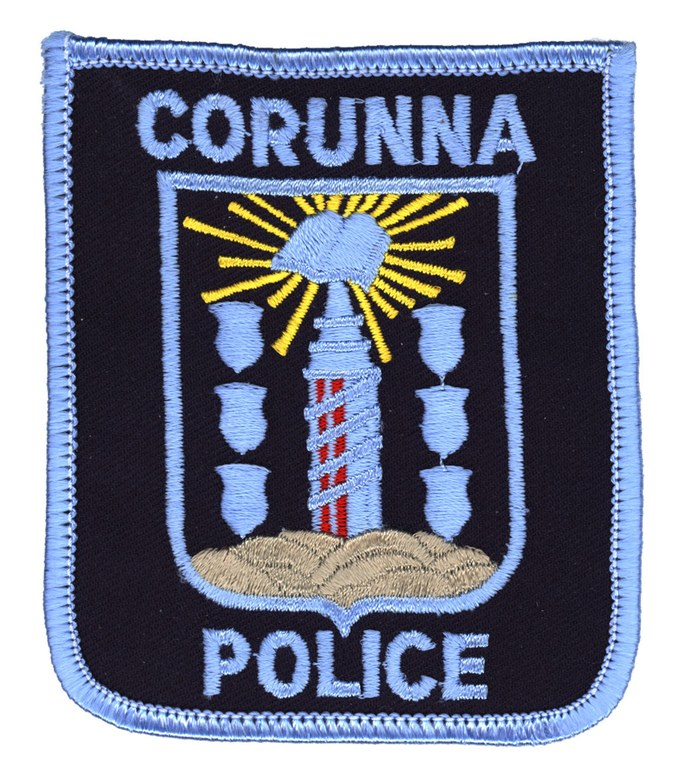A scanned image of the Corunna, Michigan, Police Department's shoulder patch.