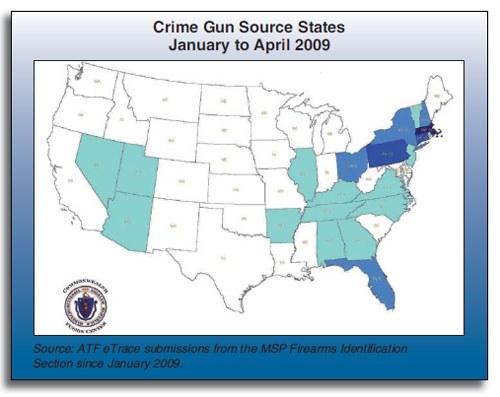 Crime Gun Source States January to April 2009 Map