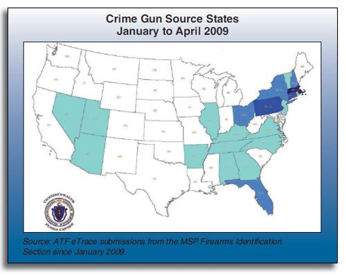 As the map indicates, this type of data illustrates the geographic journey to crime for guns used in crimes in Massachusetts. Rather than confirming the common wisdom that only southern states fuel gun trafficking in Massachusetts, the project found that crime-related guns can originate from a number of states within the Northeast, the South, and beyond. This has important statewide implications for criminal justice policy.