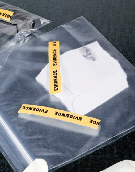 Depiction of evidence bags holding an unknown substance.