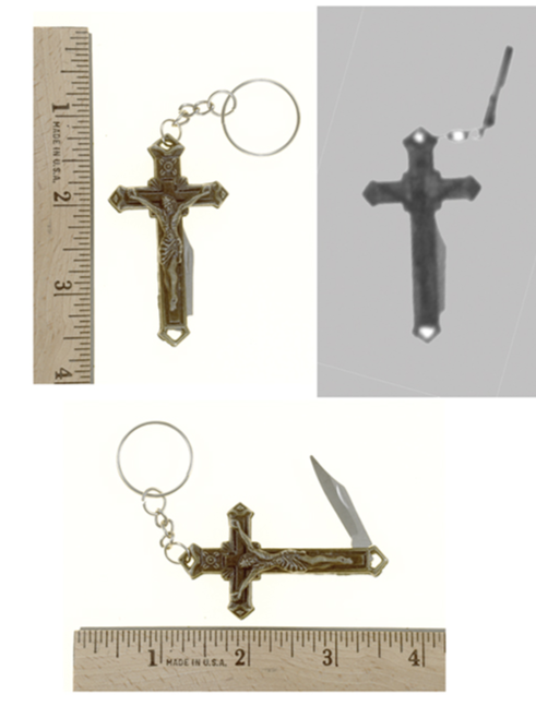 This nonmagnetic cross conceals a metal blade that poses a dangerous, unexpected threat to law enforcement officers. Offenders can use the item as a key chain or necklace.