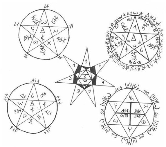 Cryptic drawings confiscated from a Florida inmate were identified by the FBI TAG program as Thelemic protection amulets. Provided by the Florida Department of Corrections)