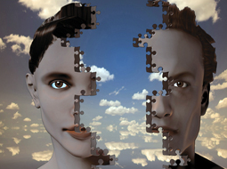 Stock image of two faces, male and female, that fit together like a puzzle. © shutterstock.com.