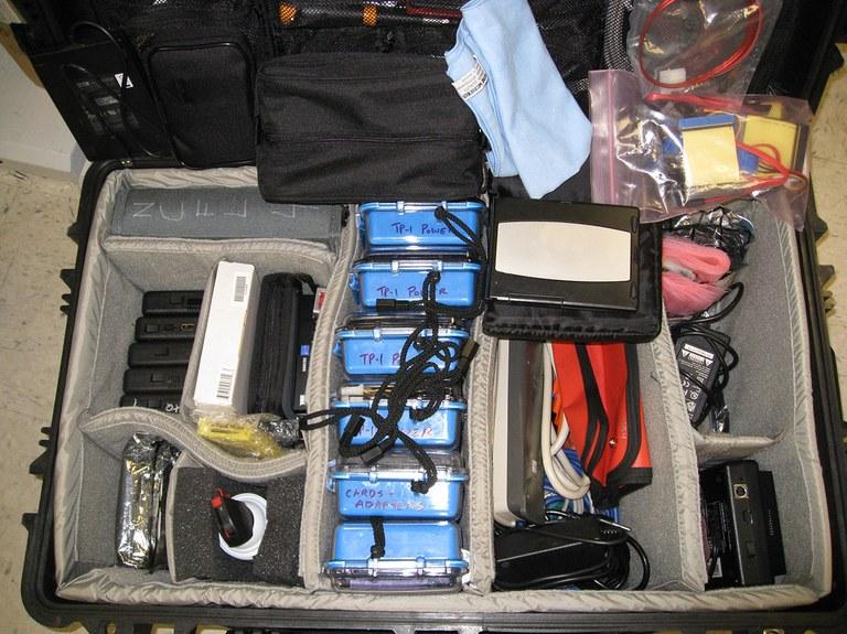A photo of a digital forensics kit.