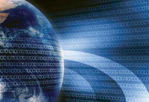 Stock image of a globe covered in binary code.