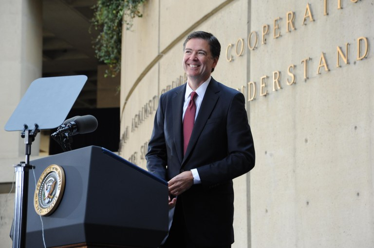 FBI Director James B. Comey at installation ceremony on October 28, 2013 in the FBI Headquarters courtyard.