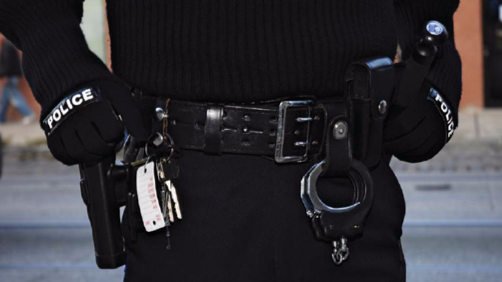 Various items on a typical police belt.