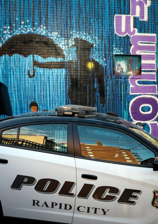 A photo of a domestic violence awareness mural created by local community members and the Rapid City police department.
