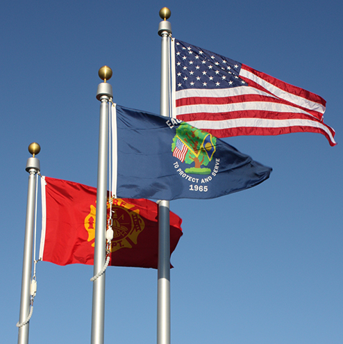 Flags at Eagan, Minnesota Police Memorial