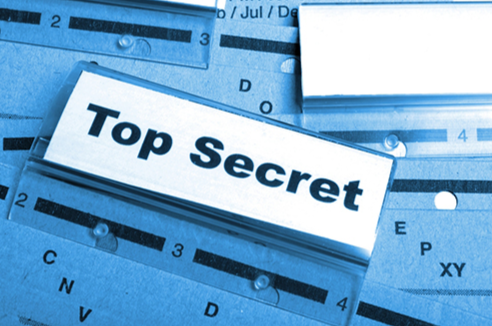 Stock image of top secret labels.