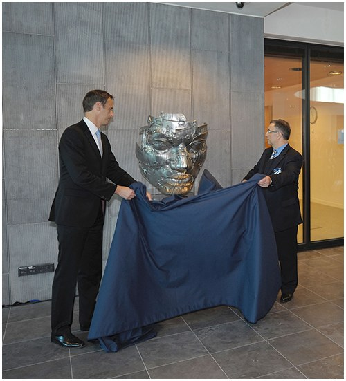 Unveiled in 2011, the European Law Enforcement Officers Memorial located at Europol Headquarters in The Hague, Netherlands, is a steel sculpture created by Hungarian artist Apolka Eros and donated by the National Police of Hungary.