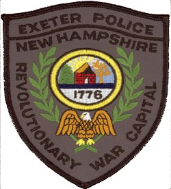 "The patch of the Exeter, New Hampshire Police Department depicts the Exeter Powder House, built in 1771 and used to store gun powder during the Revolutionary War. Exeter served as the ""Revolutionary War Capital"" of the state, as denoted on the patch. In 1776, the New Hampshire State Constitution was signed in Exeter."