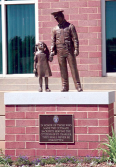 The Fallen Officer Memorial Statue is located in front of the St. Charles, Missouri, Police Department Headquarters.