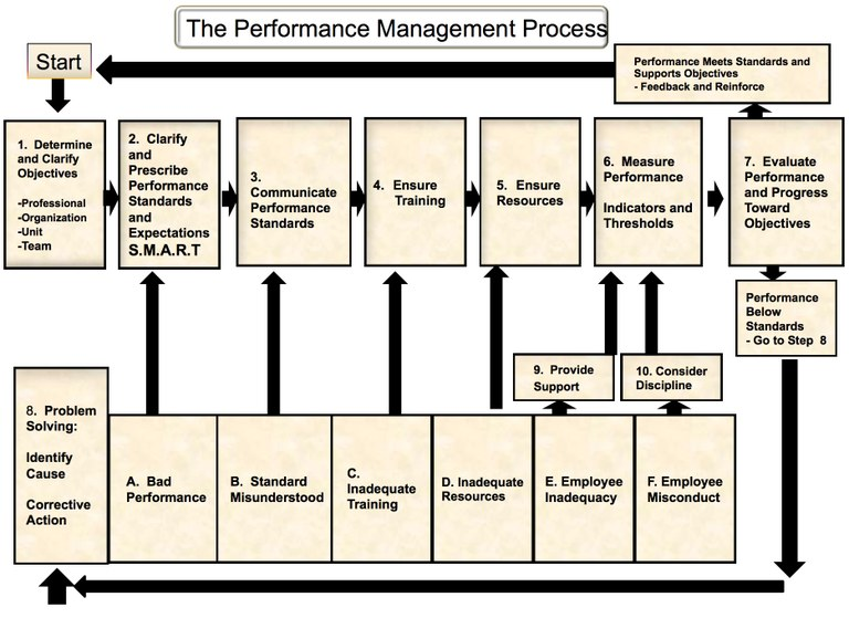 Two instructors in the Toronto Police Service developed a performance management chart that outlines sequential steps to follow for helping employees improve performance. Adapted from Performance Management. Chuck Lawrence and Richard Coulis (1986). Reproduced with Permission.