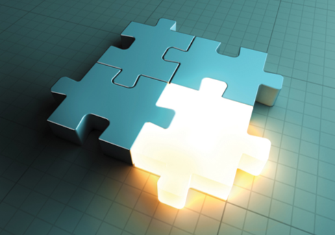 Stock image of a glowing puzzle piece. © shutterstock.com