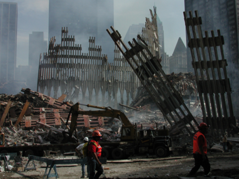 Cleanup crews in New York begin the process of clearing the debris of the late World Trade Center towers.