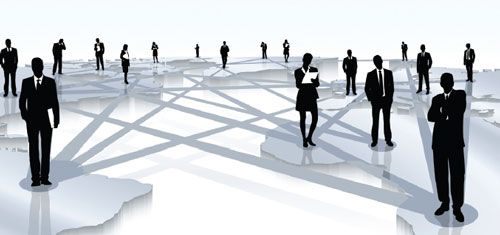 People Standing on Map with Lines Linking Them (Stock Image)