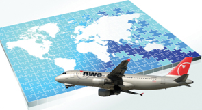 Stock graphic showing a NWA plane flying across a map puzzle. © shutterstock.com/Photos.com