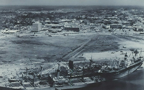 Hurricane Camille smashed into the Mississippi Gulf Coast on Sunday night, August 17, 1969. The storm grounded three ocean freighters on the north side of the Gulfport harbor.