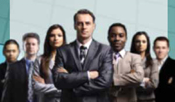 Stock image of a group of business people.