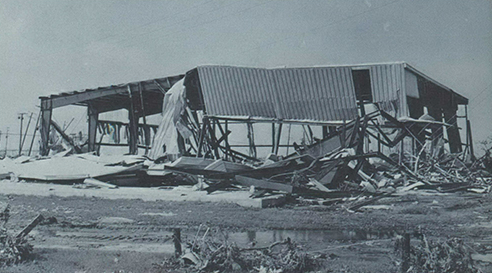 Hurricane Camille smashed into the Mississippi Gulf Coast on Sunday night, August 17, 1969. Gulfport's new recreational center had been open less than a month when Camille reduced it to shambles.