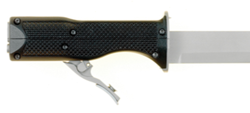 Law enforcement officers should be aware that offenders may attempt to use this gun knife. A small revolver is concealed in the handle and fires .22 long rifle-caliber cartridges. The blade is removable, and the handle may be carried alone as a firearm.