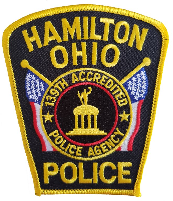 The shoulder patch of the Hamilton, Ohio, Police Department.