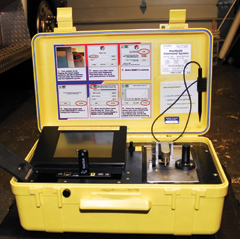 HazMat ID system with a USB drive inserted into it. This system can identify thousands of different substances, and the results can be downloaded onto a USB drive.