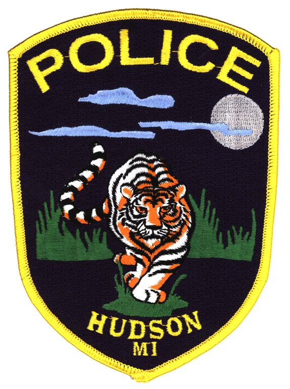 Scanned image of the Hudson, Michigan, Police Department shoulder patch.